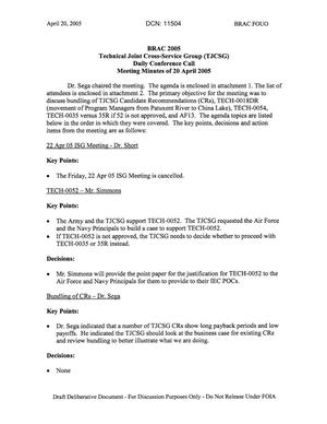 Primary view of object titled 'Technical JCSG 144T Minutes  20 April 05.pdf'.