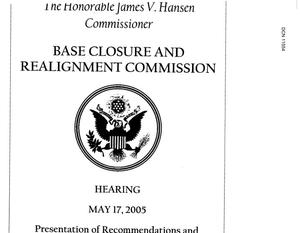Primary view of object titled 'Air Force presentation of methodology on original DoD recommendations - Cap Hill - 5/17/05'.
