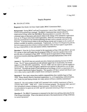 Primary view of object titled 'DoD Responses to BRAC Clearinghouse Request dtd August 17, 2005'.