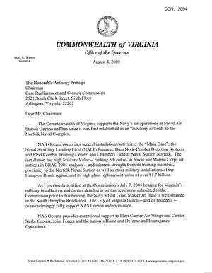 Primary view of object titled 'Executive Correspondence From Gov. Warner (VA) dtd August 4, 2005'.