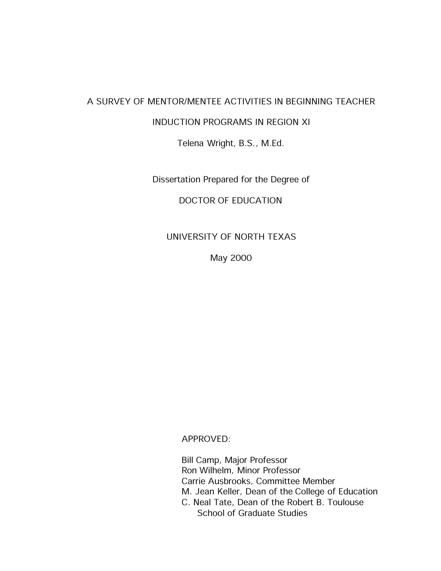 A survey of mentor/mentee activities in beginning teacher induction programs in Region XI                                                                                                      Title Page