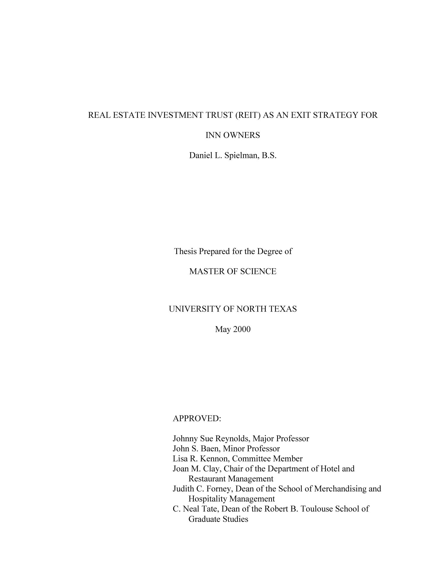 Dissertation proposal real estate management