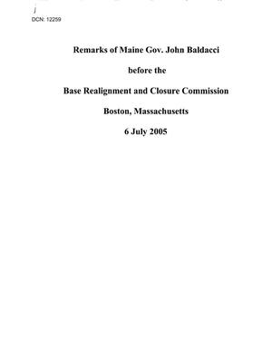Primary view of object titled 'Testimony and Statements - Regional Hearing July 6, 2005 - Boston'.