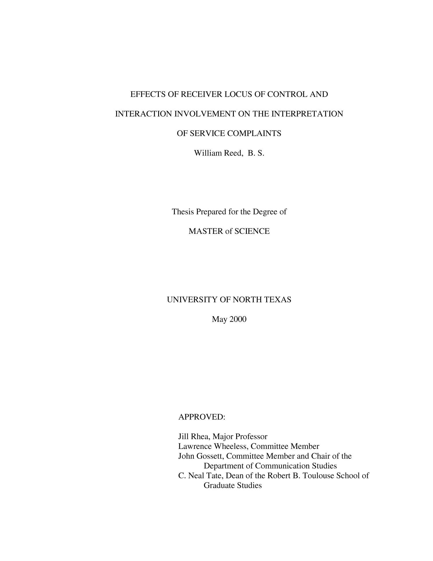 locus of control thesis The effect of locus of control on suspended and non-suspended black male high school students a thesis submitted to the faculty of clark atlanta.