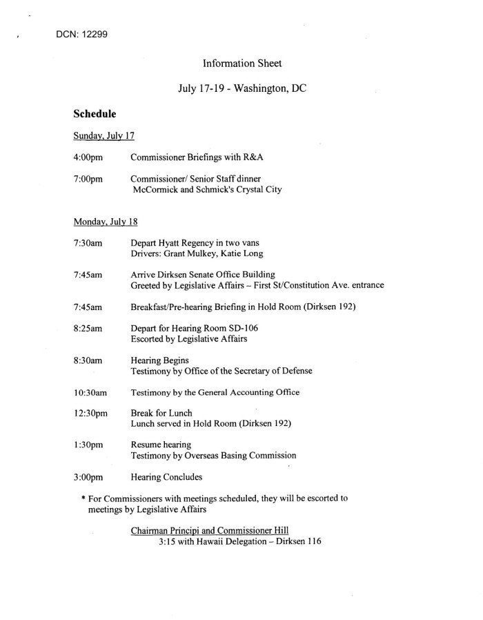 information sheet for commissioners adds hearing july 19 2005
