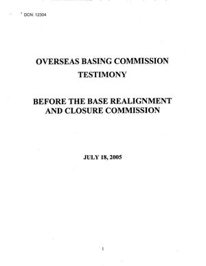 Primary view of object titled 'Testimony - Information Hearing July 18, 2005, Washington DC'.