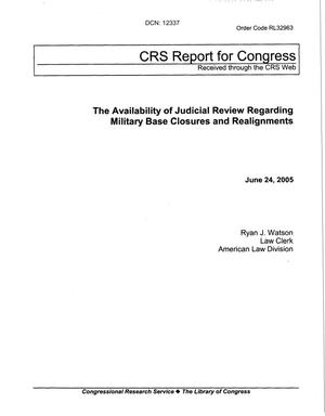 Primary view of object titled 'CRS Report Re: Judicial Review for Military Installations'.