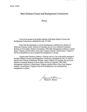 Primary view of object titled 'General Counsel - Commission Skinner Proxy for Adds Hearing - July 19, 2005'.