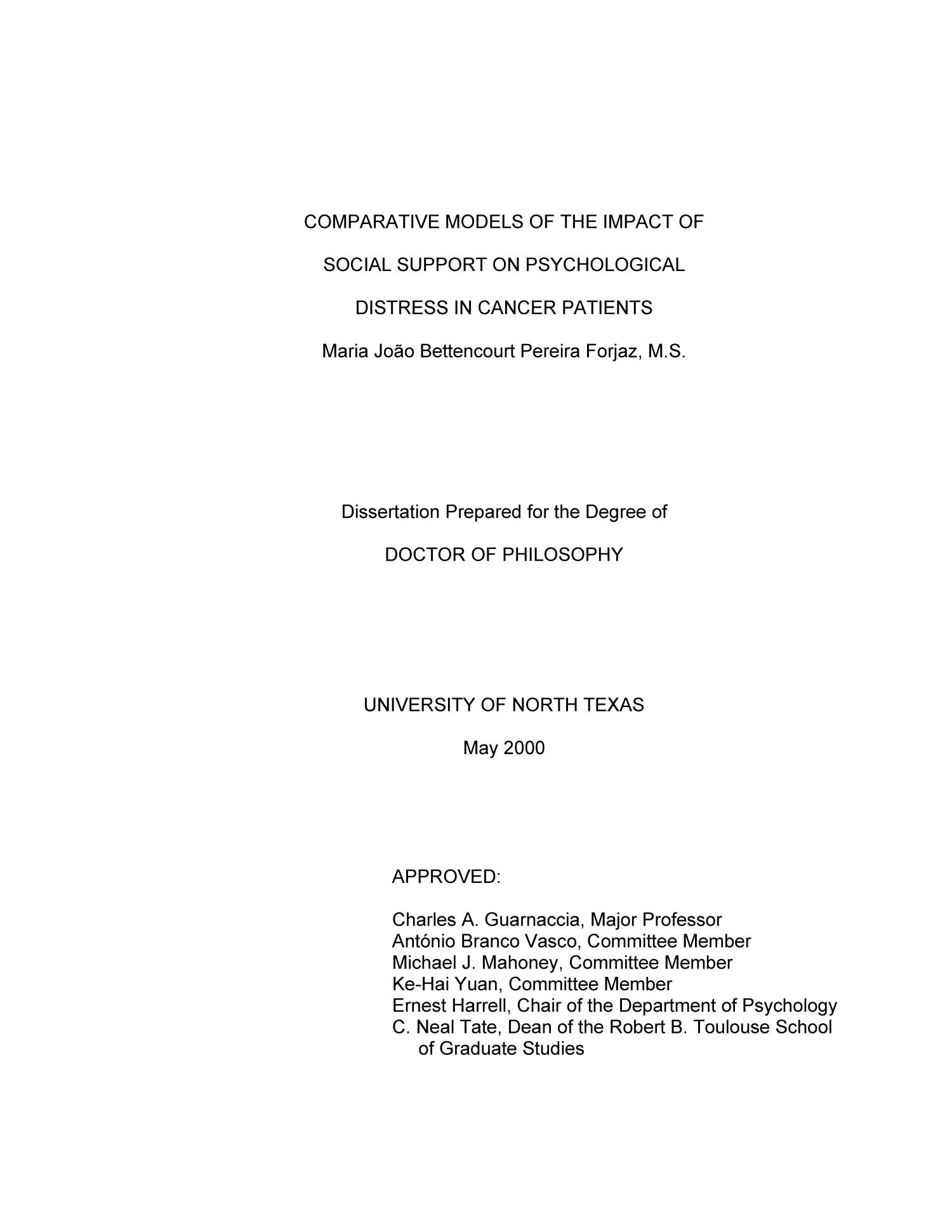 Comparative Models of the Impact of Social Support on Psychological Distress in Cancer Patients                                                                                                      Title Page