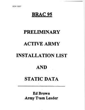 Primary view of object titled '1995 Army Team Lead Desk Material - Preliminary Active Army Installation List and Static Data, 1995'.