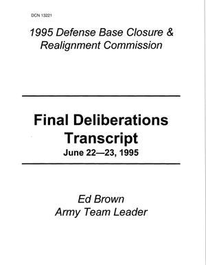 Primary view of object titled '1995 Army Team Lead Desk Material - Final Deliberations Transcript, June 22 - 23, 1995'.
