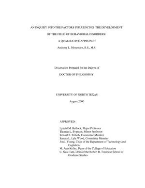 Primary view of object titled 'An inquiry into the factors influencing the development of the field of Behavior Disorders: A qualitative approach'.