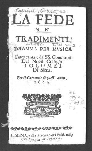 Primary view of La fede ne' tradimenti