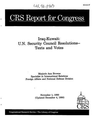 Iraq-Kuwait: U.N. Security Council Resolutions -- Texts and Votes