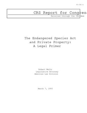 The Endangered Species Act and Private Property