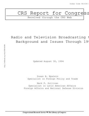 Radio and Television Broadcasting to Cuba: Background and Current Issues