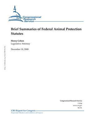 Brief Summaries of Federal Animal Protection Statutes