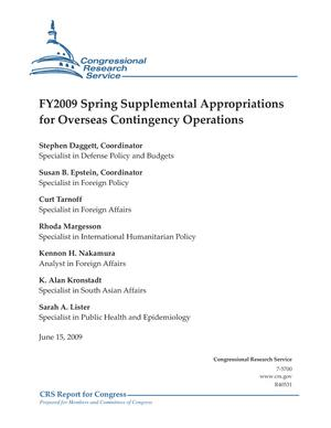 FY2009 Spring Supplemental Appropriations for Overseas Contingency Operations