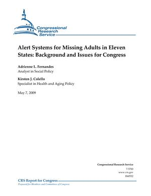 Alert Systems for Missing Adults in Eleven States: Background and Issues for Congress
