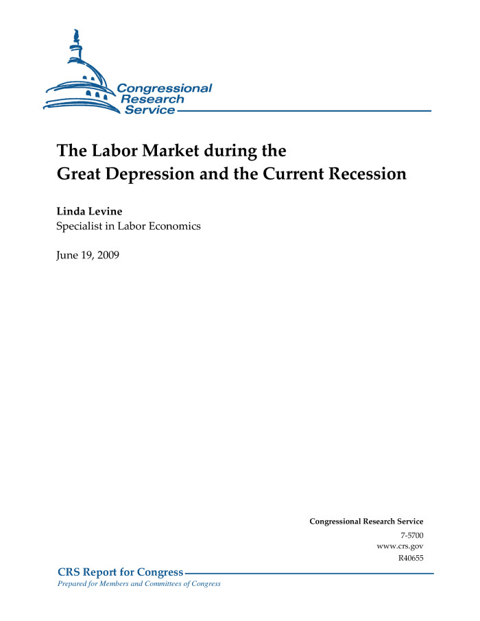 the labor market during the great depression and the current  descriptionbookmark this section