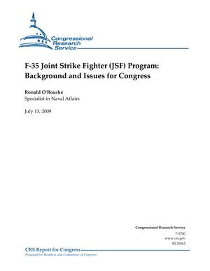 F-35 Joint Strike Fighter (JSF) Program: Background and Issues for Congress