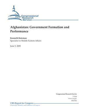 Afghanistan: Government Formation and Performance