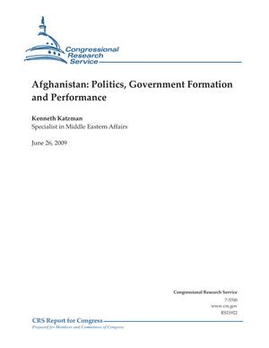 Afghanistan: Politics, Government Formation and Performance