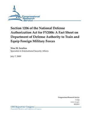 Section 1206 of the National Defense Authorization Act for FY2006: A Fact Sheet on Department of Defense Authority to Train and Equip Foreign Military Forces