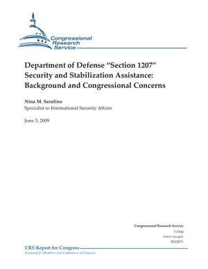"Department of Defense ""Section 1207"" Security and Stabilization Assistance: Background and Congressional Concerns"
