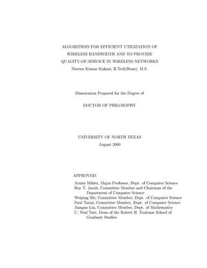 Primary view of object titled 'Algorithms for Efficient Utilization of Wireless Bandwidth and to Provide Quality-of-Service in Wireless Networks'.
