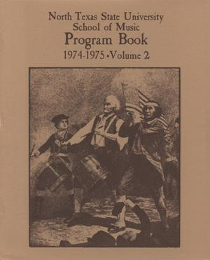 Primary view of object titled 'School of Music Program Book 1974-1975, Volume 2: Student Recital Series'.