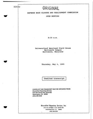 Primary view of object titled 'Baltimore, MD, Regional Hearing Transcript'.
