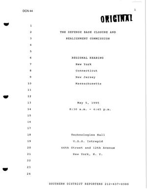 Primary view of object titled 'New York Regional Hearing Transcript'.