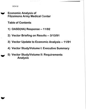 Primary view of object titled 'Economic Analysis of Fitzsimons Army Medical Center'.