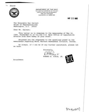 Primary view of object titled 'Naval Warfare Assessment Division - Corona, CA - Correspondence, 1995'.