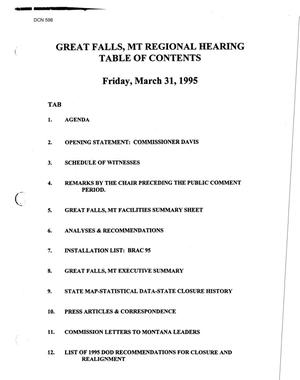 Primary view of object titled 'Hearing and Transcript, Great Falls, MT, Regional Hearing, March 31, 1995'.