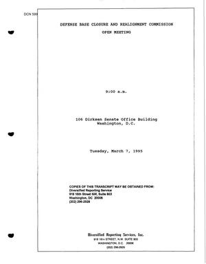 Primary view of object titled 'Investigative Hearings and Transcript, March 7, 1995'.