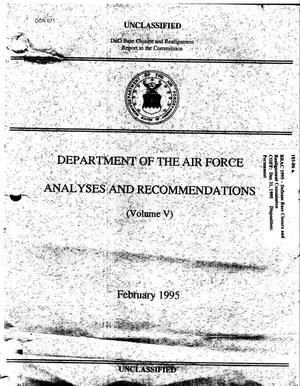 Primary view of object titled 'Community Correspondence; DoD Report to BRAC Commission - Department of the Air Force Analyses and Recommendations (Vol. 5), Feb 1995'.