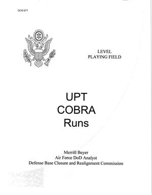 Primary view of object titled 'UPT COBRA Runs, Merrill Beyer - Air Force Analyst'.