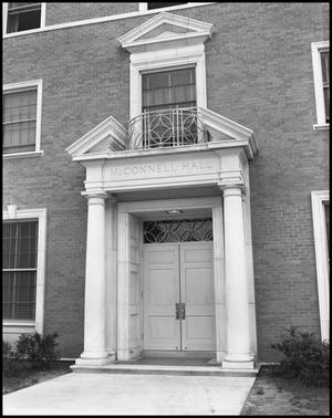 Primary view of object titled '[Entrance to McConnell Hall]'.