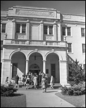 Primary view of object titled '[Students Outside Marquis Hall]'.