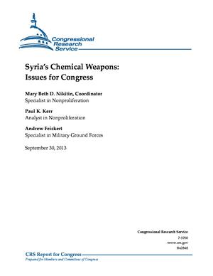 Syria's Chemical Weapons: Issues for Congress