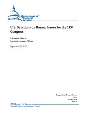 U.S. Sanctions on Burma: Issues for the 113th Congress