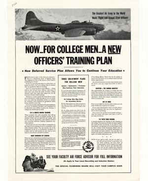 Primary view of object titled 'Now_for college men_a new officer's training plan : new deferred service plan allows you to continue your education.'.