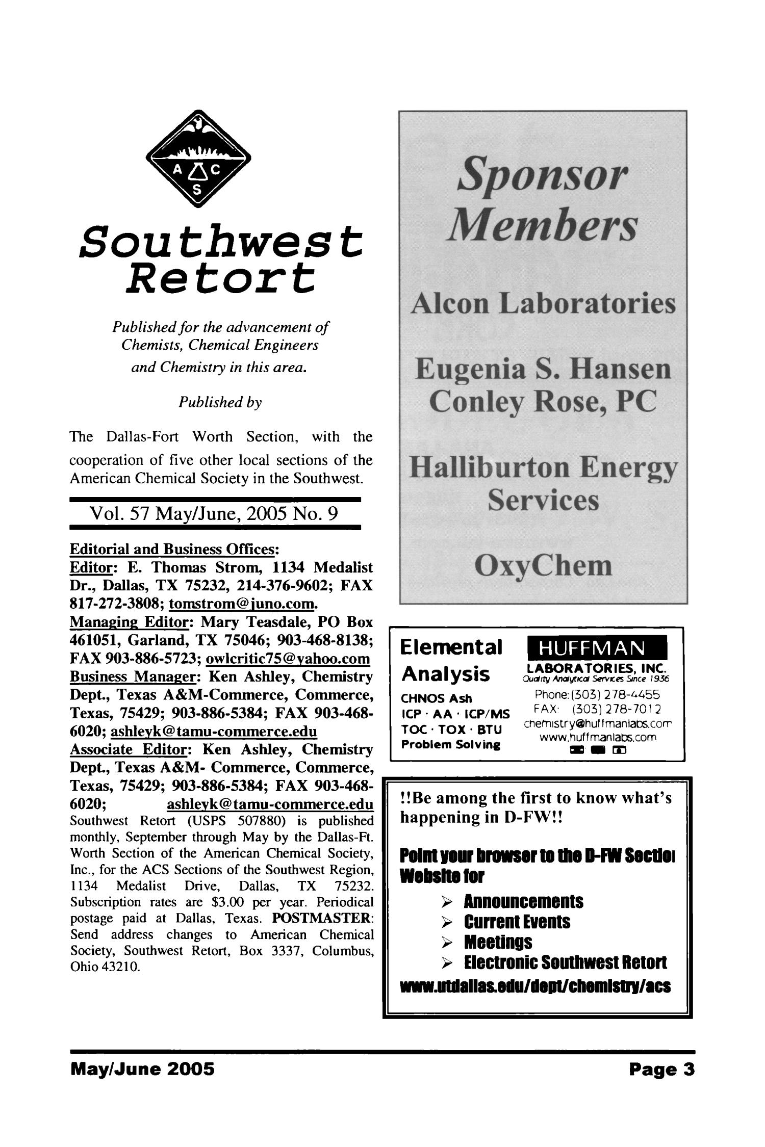 Southwest Retort, Volume 57, Number 9, May/June 2005                                                                                                      3