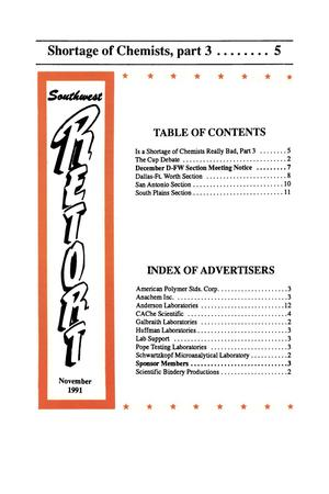 Primary view of object titled 'Southwest Retort, Volume 45, Number 3, November 1991'.