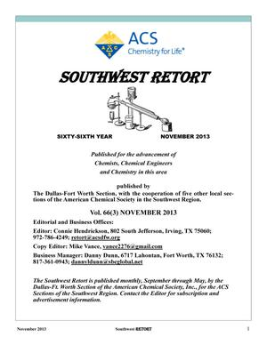 Primary view of object titled 'Southwest Retort, Volume 66, Number 3, November 2013'.