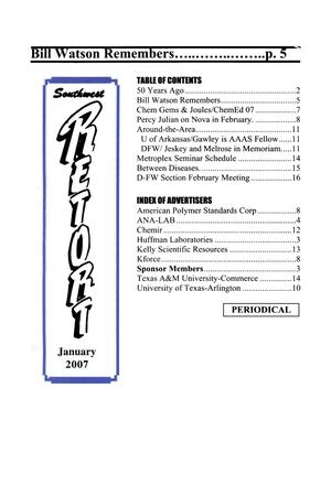 Primary view of object titled 'Southwest Retort, Volume 59, Number [5], January 2007'.