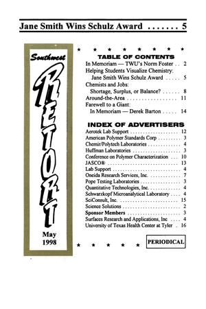 Primary view of object titled 'Southwest Retort, Volume 50, Number 18, May 1998'.