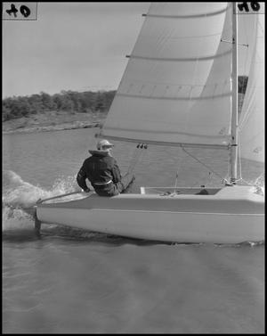 Primary view of object titled '[Photograph of Dr. Louise Self, Sailing]'.